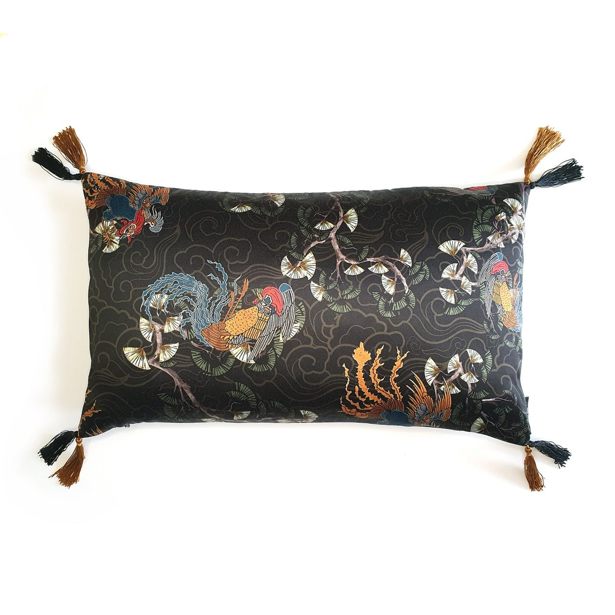 "Oriental Print Rectangle Tassel Cushion Handmade oriental print silky (polyester) cushion with contrast silky double tassels, approximately 12"" x 20"" (30cm x 50cm) with a concealed zip.  Comes with a polycotton cushion inner."