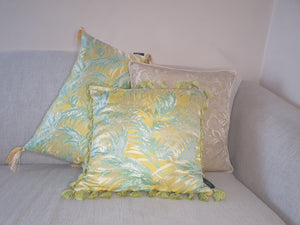 Yellow Palm Jacquard Rectangle Tassel Cushion