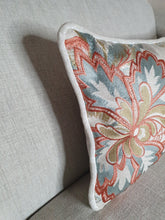 Load image into Gallery viewer, Cream Floral Embroidered Rectangle Double Sided Velvet Cushion