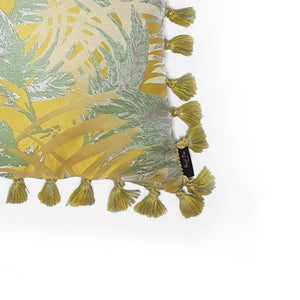 Yellow Palm Jacquard Fringe Cushion close up
