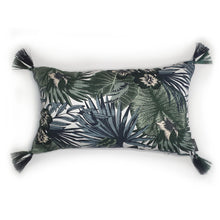 Load image into Gallery viewer, Botanical Leaf Print Rectangle Tassel Cushion