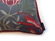 "Load image into Gallery viewer, Handmade double-sided cushion with a fresh botanical green based wild flower floral print on one side and rich Italian velvet in burgundy on the reverse, edged with a contrasting burgundy intricate interwoven rope.   Fully reversible, double sided cushion.  Why have one cushion, when you can have 2?!  Approximately 16"" x 16"" (40cm x 40cm) square with a concealed zip.  Comes with a polycotton lined cushion inner. Close up of the wild flower print with the hand sewn rope trim and Hazeldee Home woven label"
