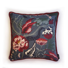 "Load image into Gallery viewer, Handmade double-sided cushion with a fresh botanical green based wild flower floral print on one side and rich Italian velvet in burgundy on the reverse, edged with a contrasting burgundy intricate interwoven rope.   Fully reversible, double sided cushion.  Why have one cushion, when you can have 2?!  Approximately 16"" x 16"" (40cm x 40cm) square with a concealed zip.  Comes with a polycotton lined cushion inner."