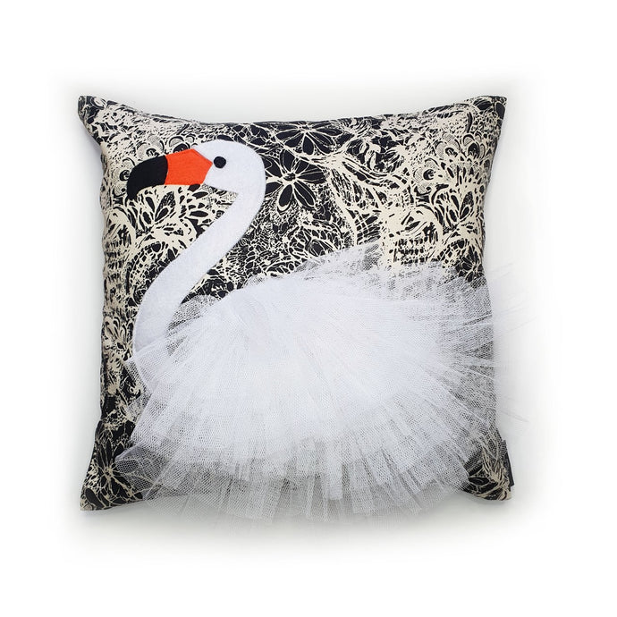 Handmade swan bird illustration character cushion with 3D feather effect trim.    A great conversational swan cushion for kids and grown ups alike!  Bring some fun and colour into your space with this handmade cushion with a white swan cushion with plume of white feather-like trim with a twill fabric floral monochrome base!  A Hazeldee Home design.  Approximately 16