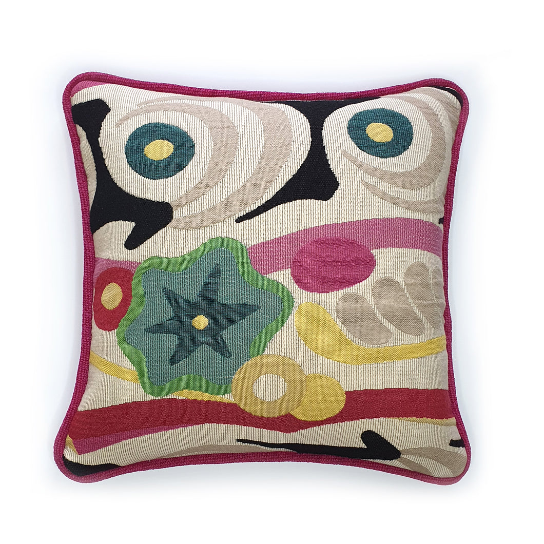 Pink Abstract Impression Jacquard Cushion