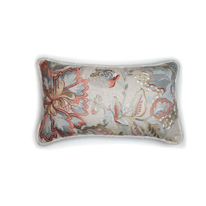 Cream Floral Embroidered Rectangle Double Sided Velvet Cushion