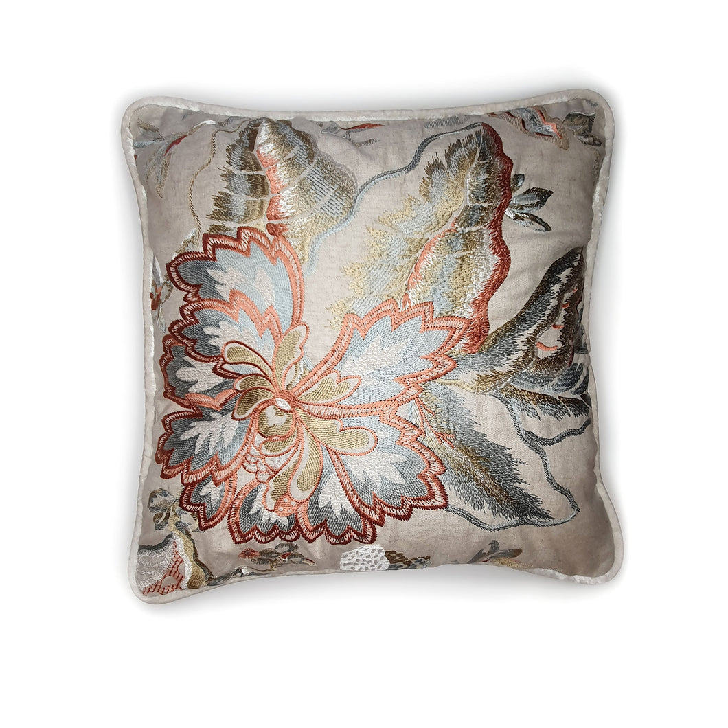Cream Floral Embroidered Double Sided Velvet Cushion