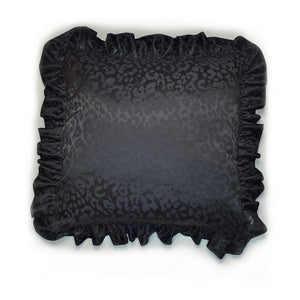 black leopard jacquard Hazeldee Home cushion, approximately 18 inches (excluding ruffle trim) all black with black on black leopard jacquard pattern.  Great staple style to add glamour to your home!