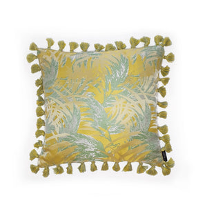 Yellow Palm Jacquard Fringe Cushion