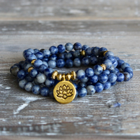 Sodalite Wrap Bracelet With Gold Lotus Charm and Gift Bag.