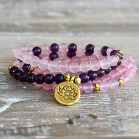 Rose Quartz and Amethyst Wrap Bracelet With Gold Lotus Charm and Gift Bag.