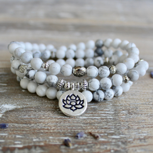 Howlite Wrap Bracelet With Silver Lotus Charm and Luxury Gift Bag.
