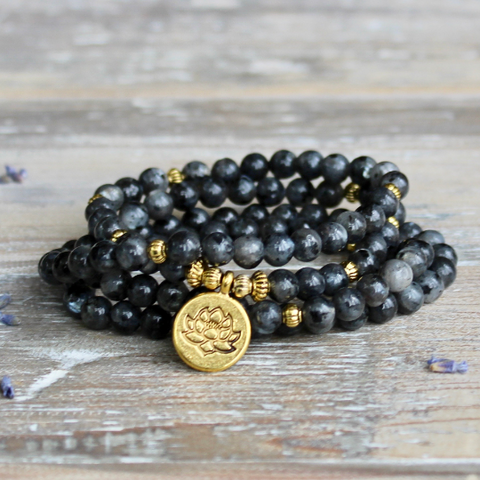Larvikite Wrap Bracelet With Gold Lotus Charm and Gift Bag.