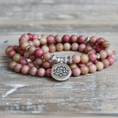 Rhodonite Wrap Bracelet With Silver Coloured Lotus Charm.