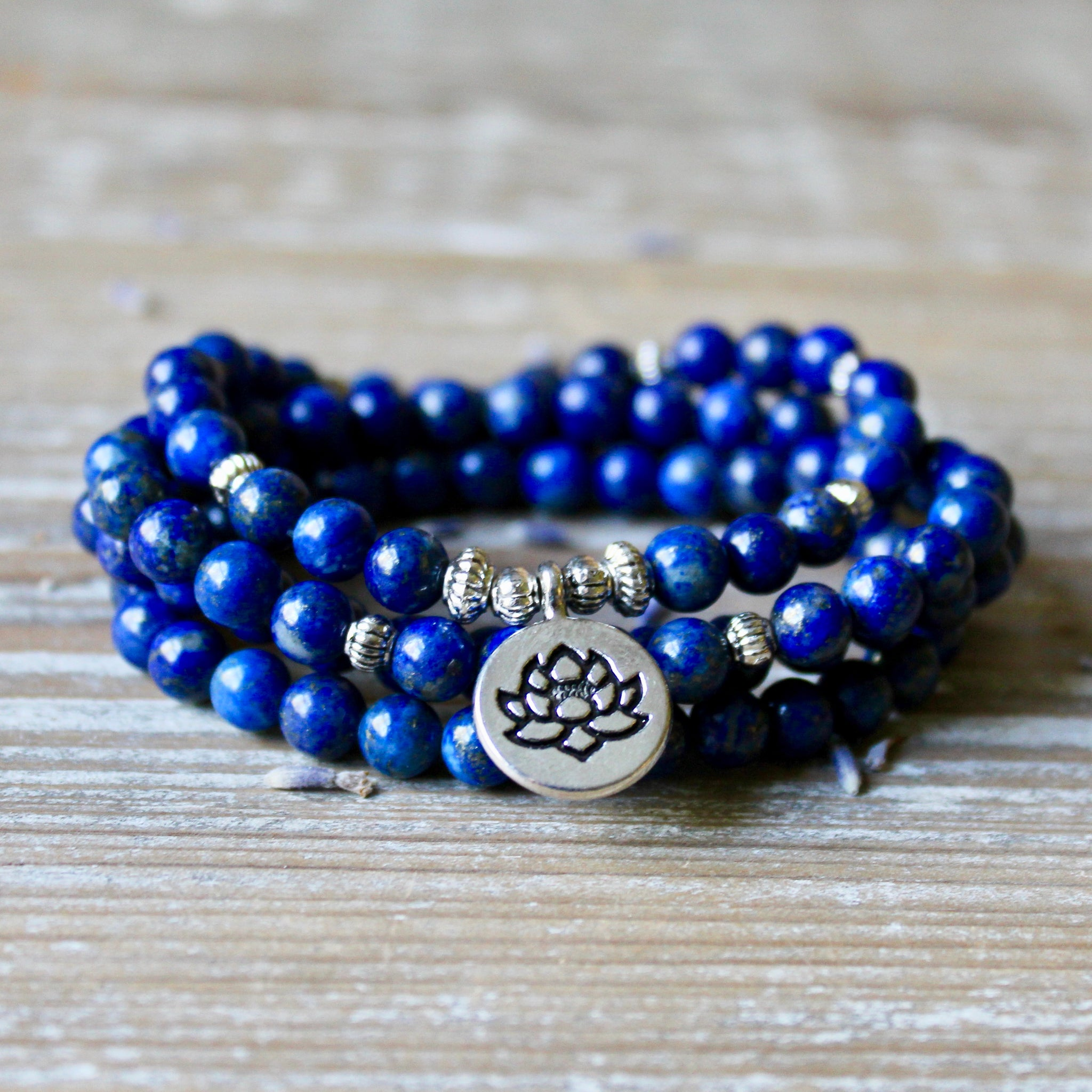 Lapis Lazuli Wrap Bracelet with Silver Lotus Charm and Gift Bag.