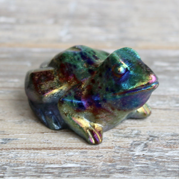 Rainbow Aura Ruby in Zoisite Frog