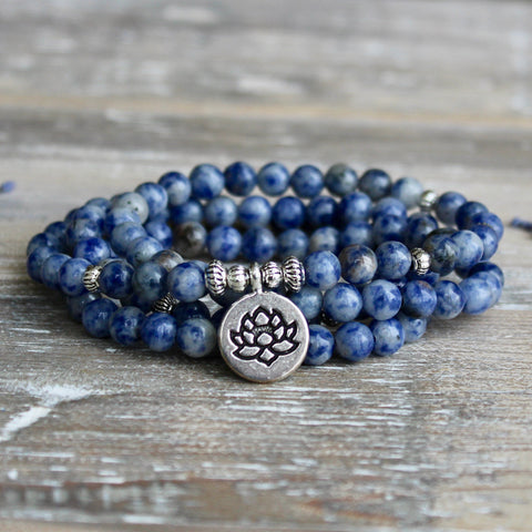 Sodalite Wrap Bracelet With Silver Lotus Charm and Gift Bag.