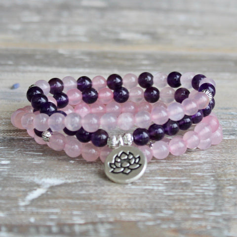 Rose Quartz and Amethyst Wrap Bracelet With Silver Coloured Lotus Charm.