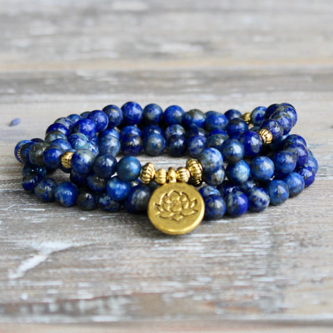 Lapis Lazuli Wrap Bracelet With Gold Lotus Charm and Luxury Gift Bag.