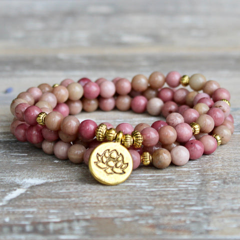 Rhodonite Wrap Bracelet With Gold Lotus Charm and Gift Bag.