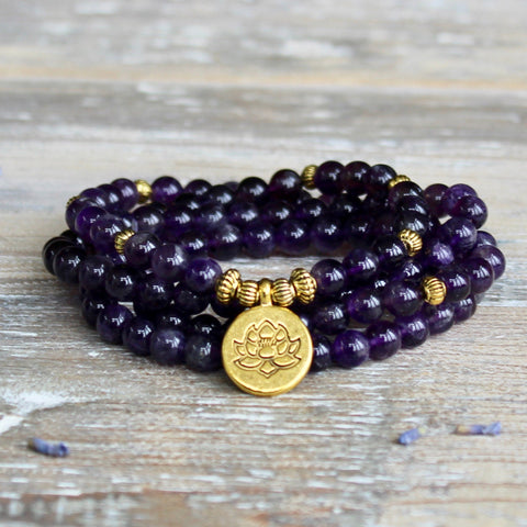 Amethyst Wrap Bracelet With Gold Lotus Charm and Gift Bag.