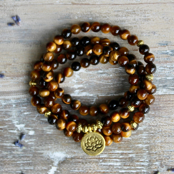 Tigers Eye Wrap Bracelet With Gold Lotus Charm.