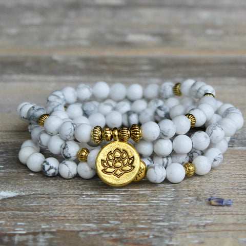 Howlite Wrap Bracelet With Gold Lotus Charm and Luxury Gift Bag.
