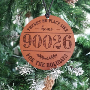 Zip Code Personalized Leather Ornament