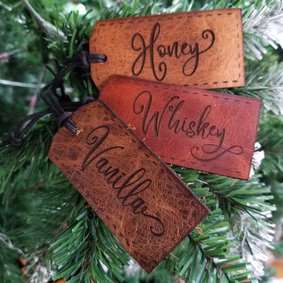 Personalized Rustic Leather Christmas Tags
