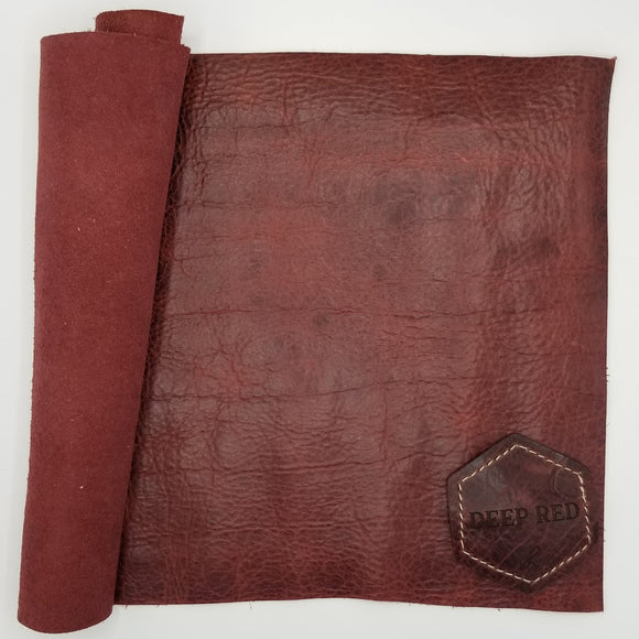 Deep Red American Bison Leather