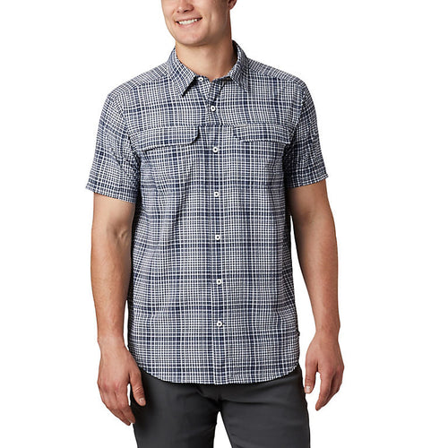 Columbia | AM0304-464 | Silver Ridge SS Seersucker Shirt | Collegiate Navy Grid Plaid