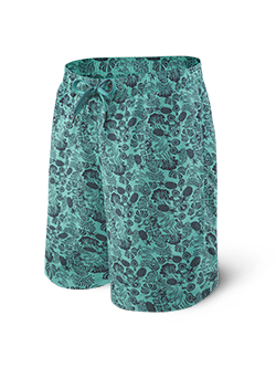Saxx | SXLS30 | Cannonball N21 Long Swim Short | Green Jungle Jam