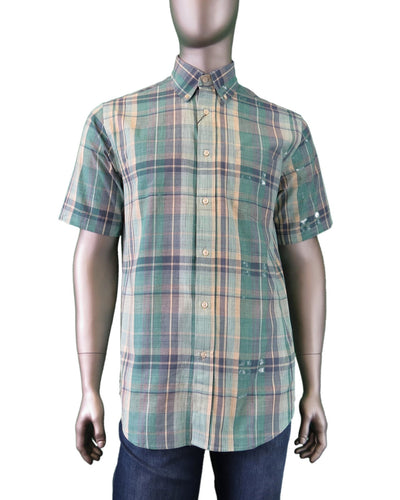 Viyella | 550310 | Madras Short Sleeve Sport Shirt | Teal Plaid