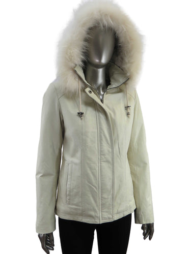 Cruze | 37517-HF | Leather Jacket with Faux Fur Hood | Cream