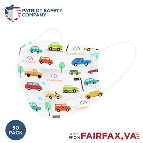 Kids 3 Ply Face Mask Cars- 50 Pack