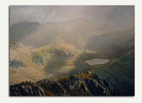 Cwm Idwal from Pen yr Oleu Wen. A watercolour by Rob Piercy