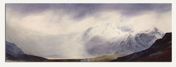 A passing snow shower in Cwm Idwal. A watercolour by Rob Piercy