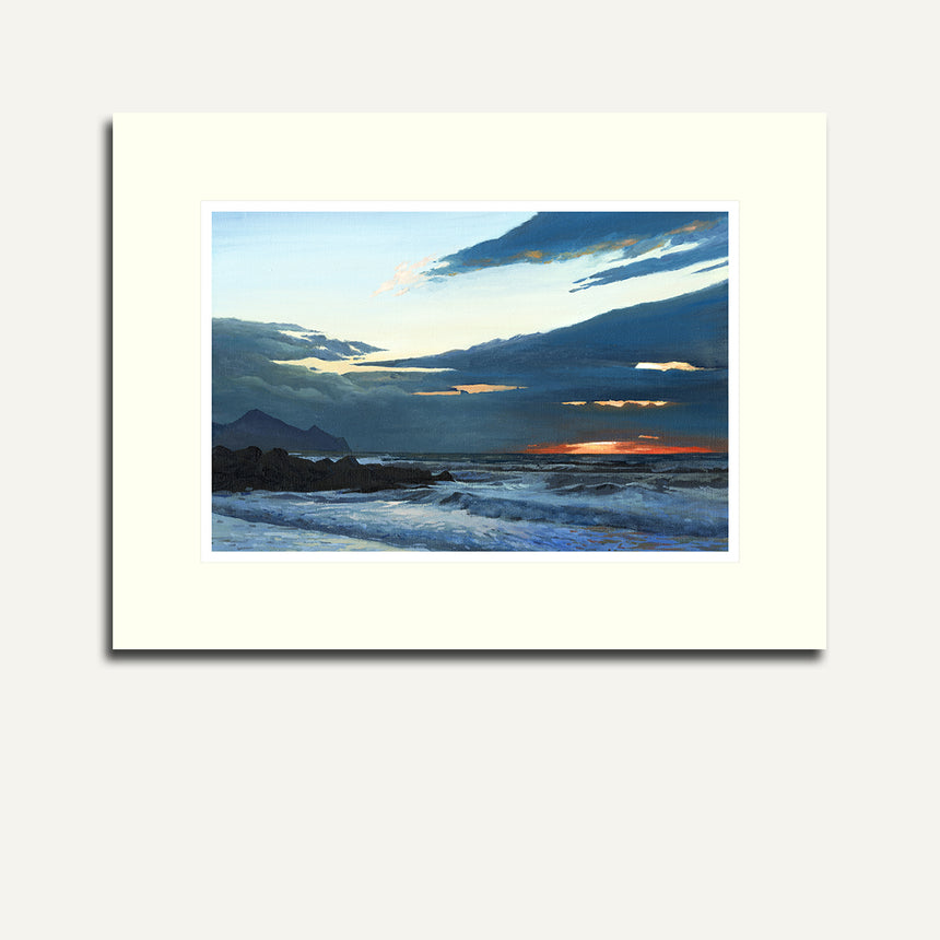 Mounted - Dinas Dinlle sunset.