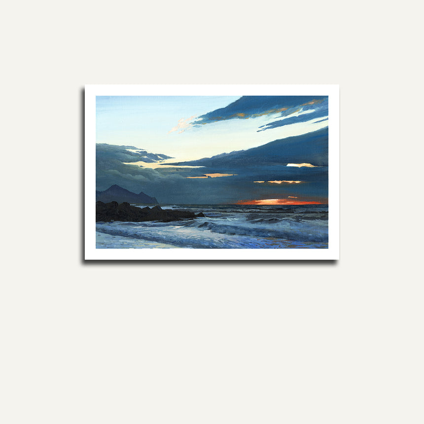 Print only - Dinas Dinlle sunset.