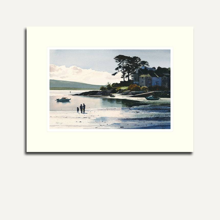 Mounted, figures on Borth y Gest bay.