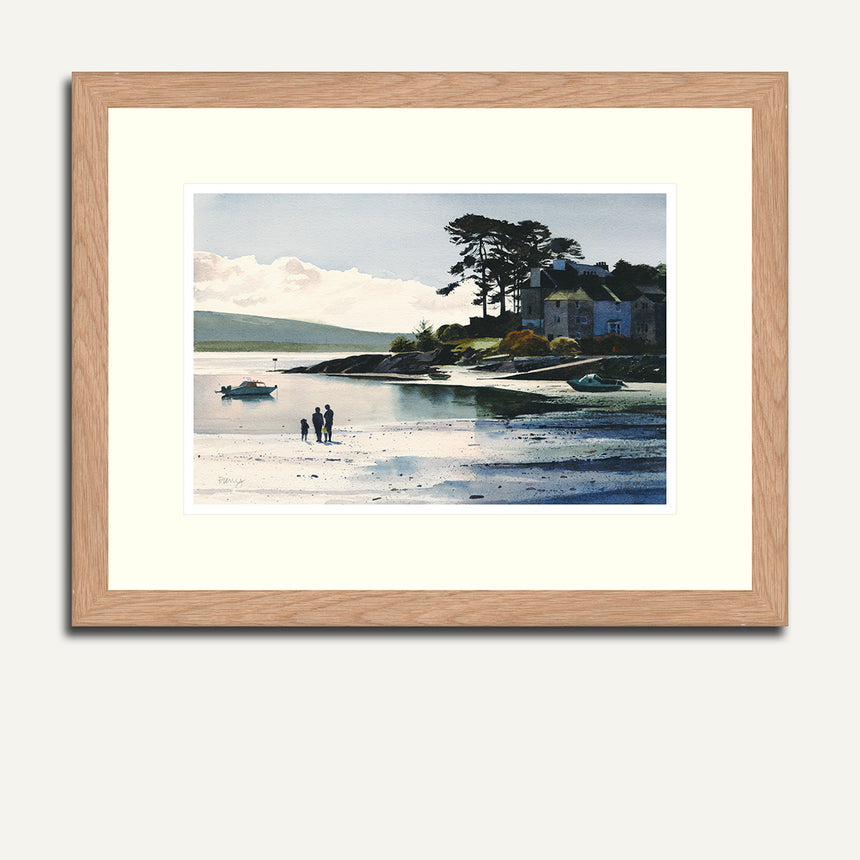 Framed figures on Borth y Gest bay.