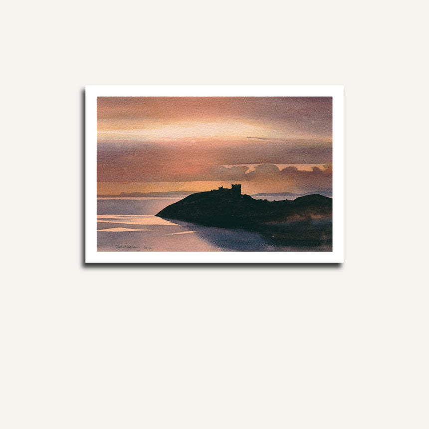 Print only of Cricieth castle at sunset.