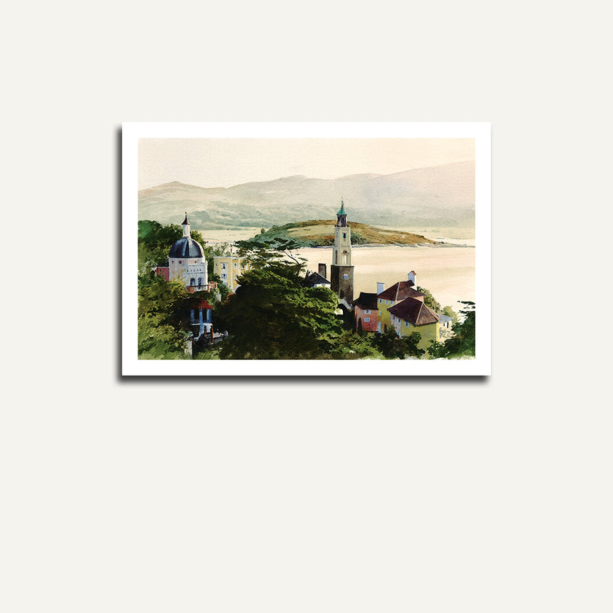 Print only - Village, sea and mountain.