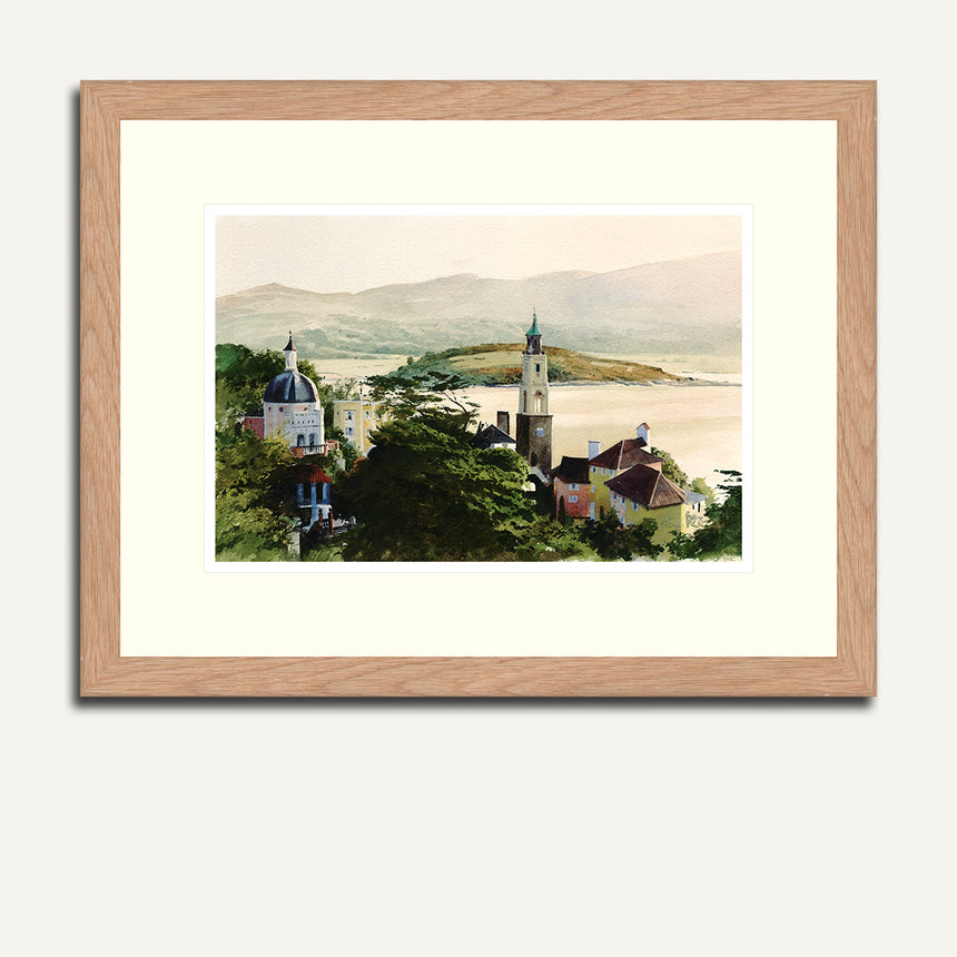 Framed - Village, sea and mountain.