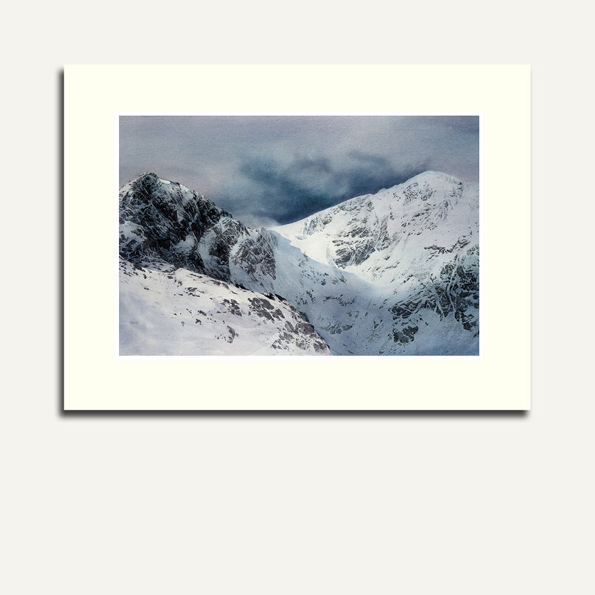 Mounted Craig Cau and Cader Idris in snow.