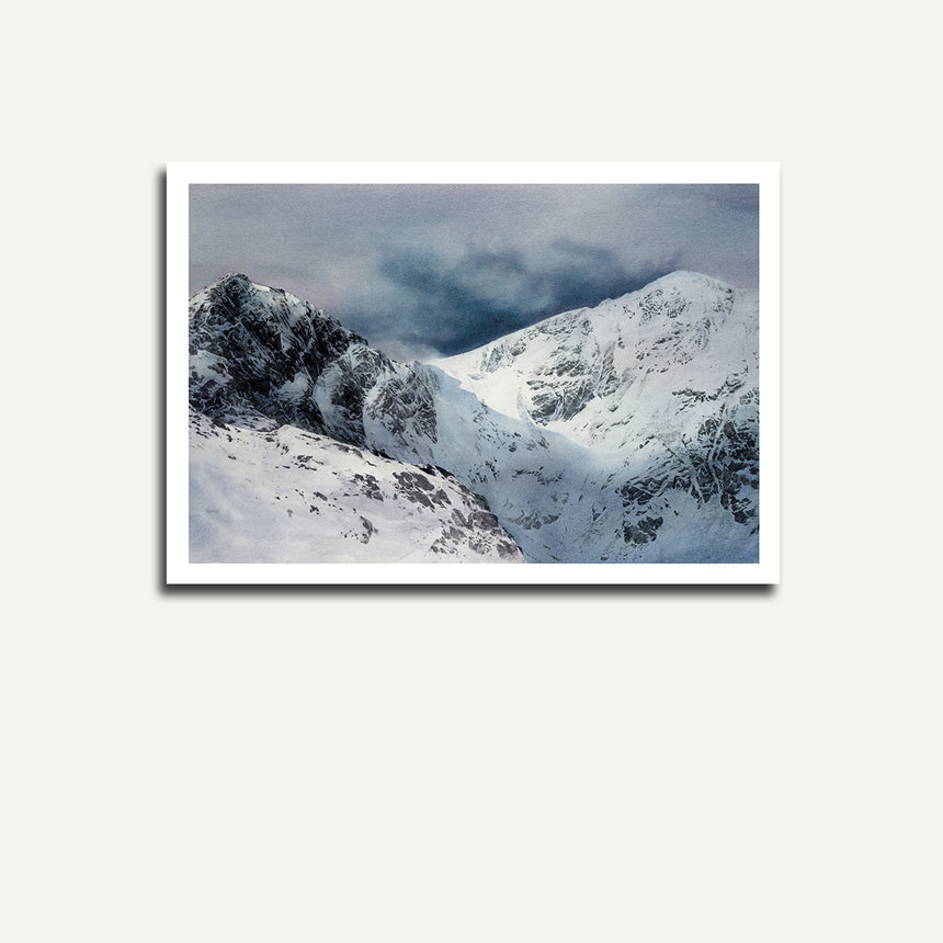 Print only of Craig Cau and Cader Idris with snow.