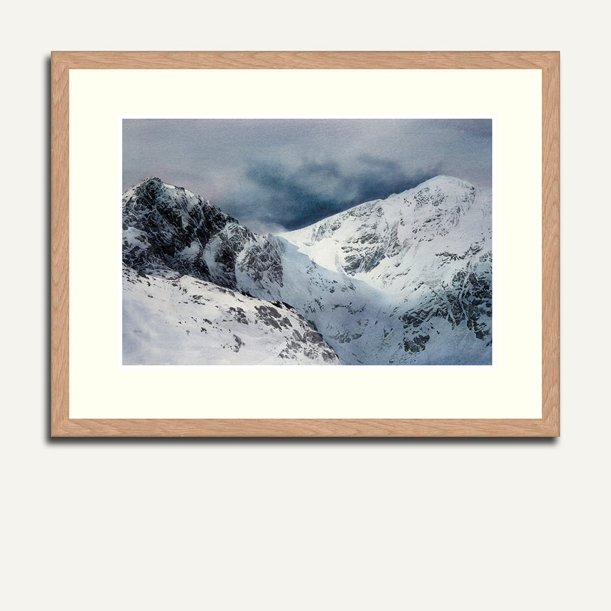 Framed Craig Cau and Cader Idris in snow.