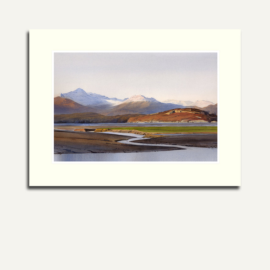 Mounted - Snowdon from the Dwyryd estuary.