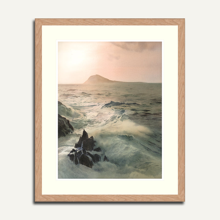An image of the Ynys Enlli (Bardsey Island) print by Rob Piercy, in a frame