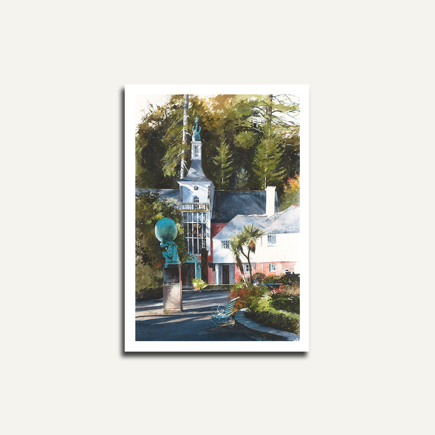 Print only - Townhall and Angel, Portmeirion.